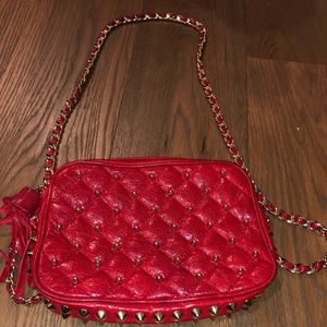 Rebecca minkoff red crossbody with studs